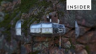 Skylodge Adventure Suites is stuck on the side of a cliff in Peru's...