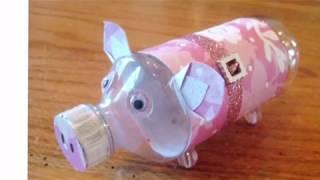 Свинья копилка из пластиковой бутылки.