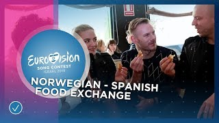 Miki 🇪🇸 & KEiiNO 🇳🇴 try Spanish and Norwegian food! - Eurovision 2019