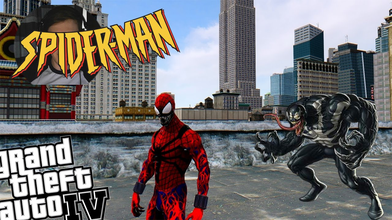 gta 4 spider-carnage mod + venom mod - creepy spiderman vs venom