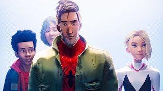Питер, Майлз и Гвен встречают Человека Паука Нуар и Свина Паука. Человек-паук: Через вселенные. 2018