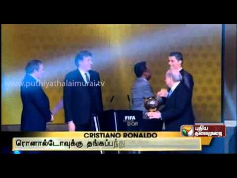 Cristiano Ronaldo wins the 2013 FIFA Ballon d'Or award
