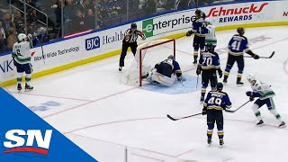 Brock Boeser Shoots Puck Off Glass & Jake Allen's Back To Score