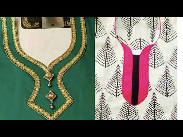 Lace dori and buttons used on neck designs || very easy neck designs of punjabi suits | Kaur Trends