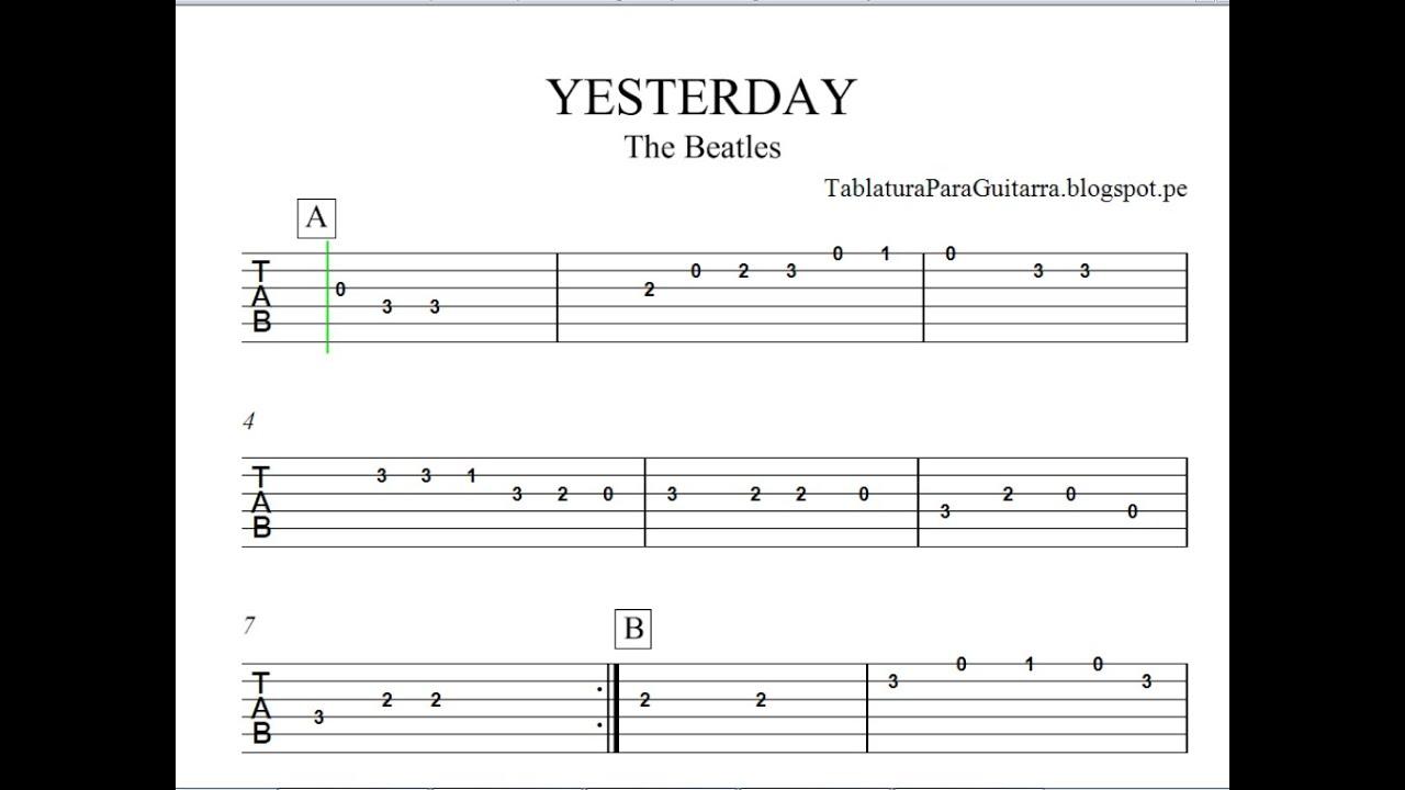 yesterday the beatles tablatura para guitarra youtube