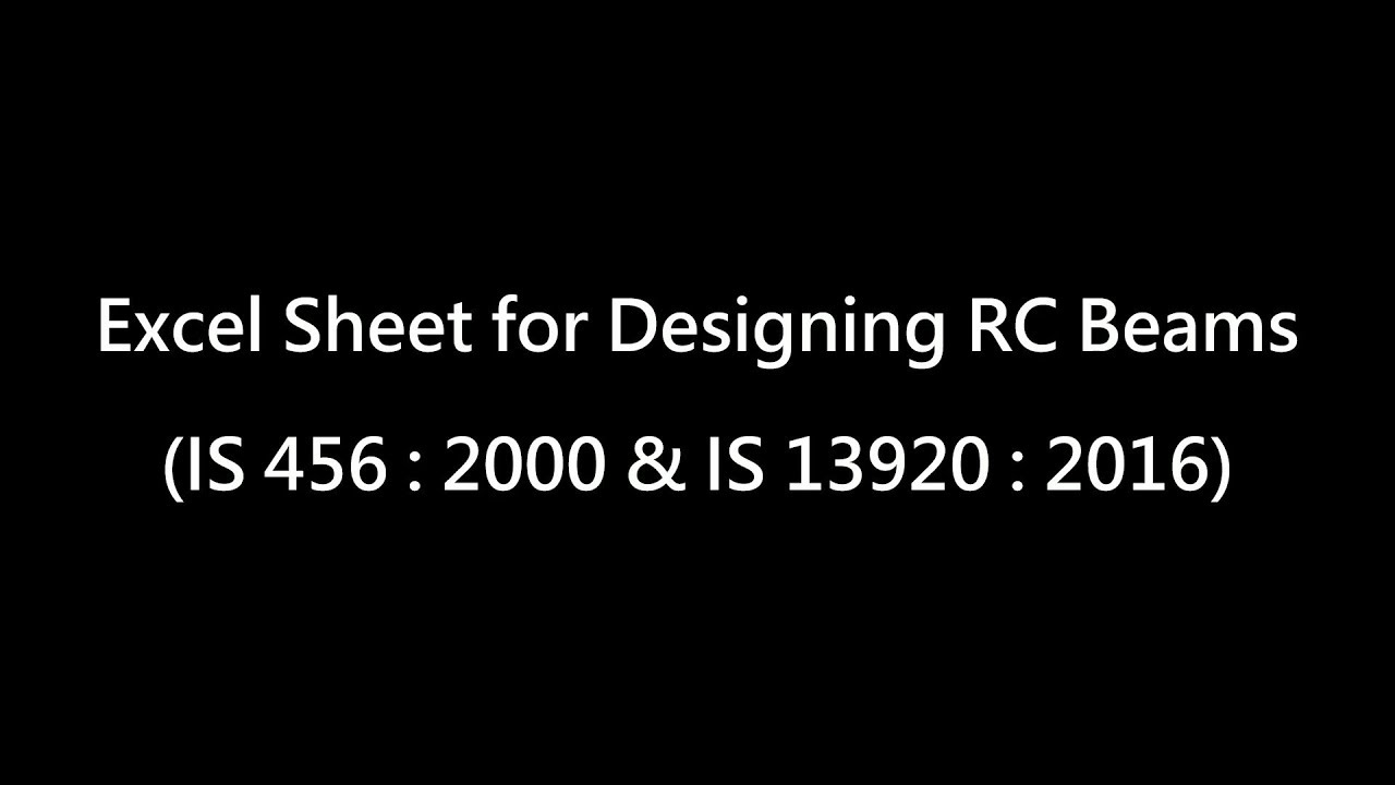 Excel Sheet for RC Beam Design (IS Code)