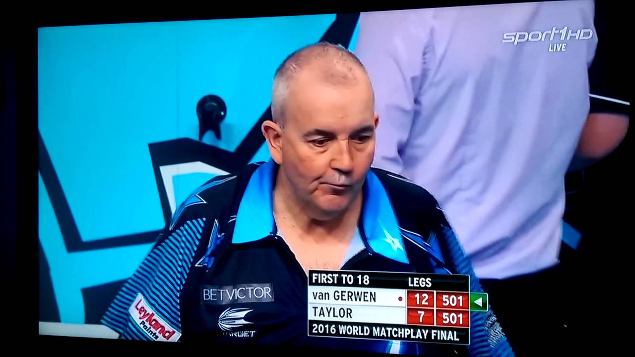 phil taylor joins the icelandic huh chants at the matchplay final