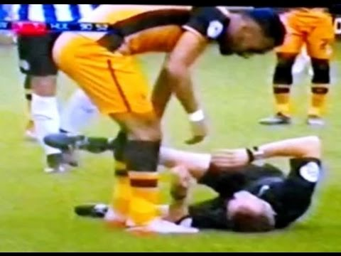 Real Funny Moment where Referee falls down and get out from field in a soccer game   Rare Scene