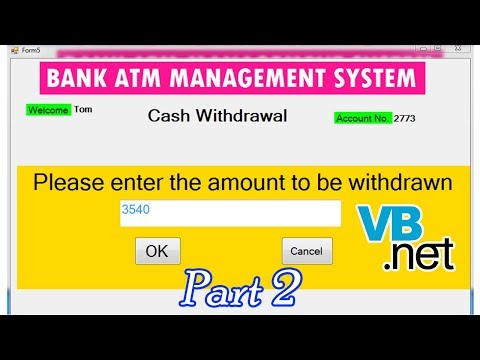 ATM Management System in VB NET | cash withdrawal | Part 2