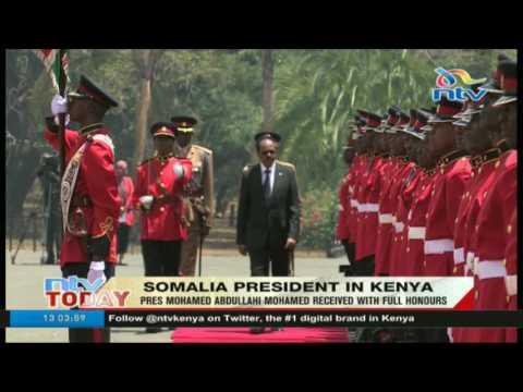 Somalia president Mohamed Abdullahi received in Kenya with full honors