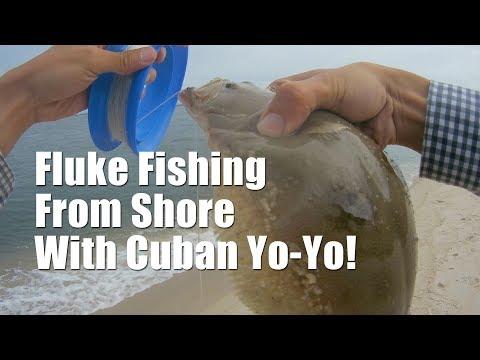 No Rod No Reel! Handline Surf Fluke (Flounder) Fishing! - Cuban Yo-yo Flounder Fishing