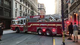 BRAND NEW 2017 FDNY LADDER 25 FERRARA TRUCK ARRIVING AT HER FIREHOUSE FOR THE 1ST TIME ON W 77TH ST.