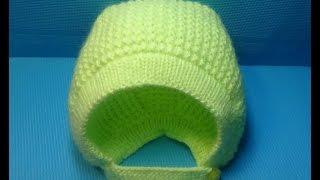 Вязание спицами детская шапочка-чепчик#146