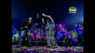 Chiranjeevi Pawan Kalyan stage performance at Vajrothsavam