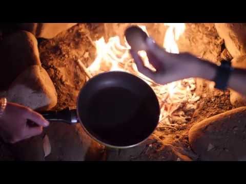 Cooking an Egg (camp fire) 01 / Free Stock Footage (180 fps)