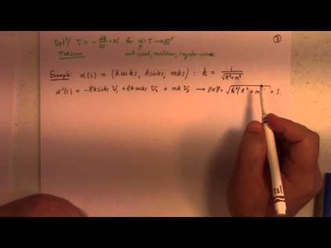 Differential Geometry: Lecture 6 part 1: Frenet Serret Equations