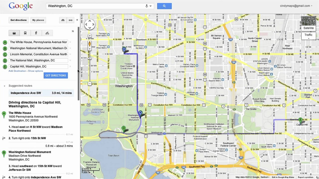 Saving Directions In Google Maps YouTube - Google maps to and from