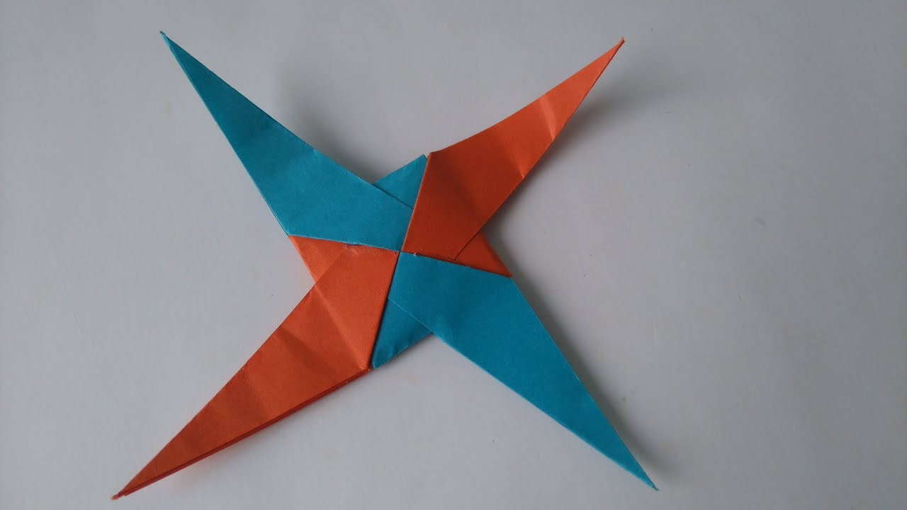 Origami Toys - How to make an Origami 4 Pointed Star Blade ... - photo#23