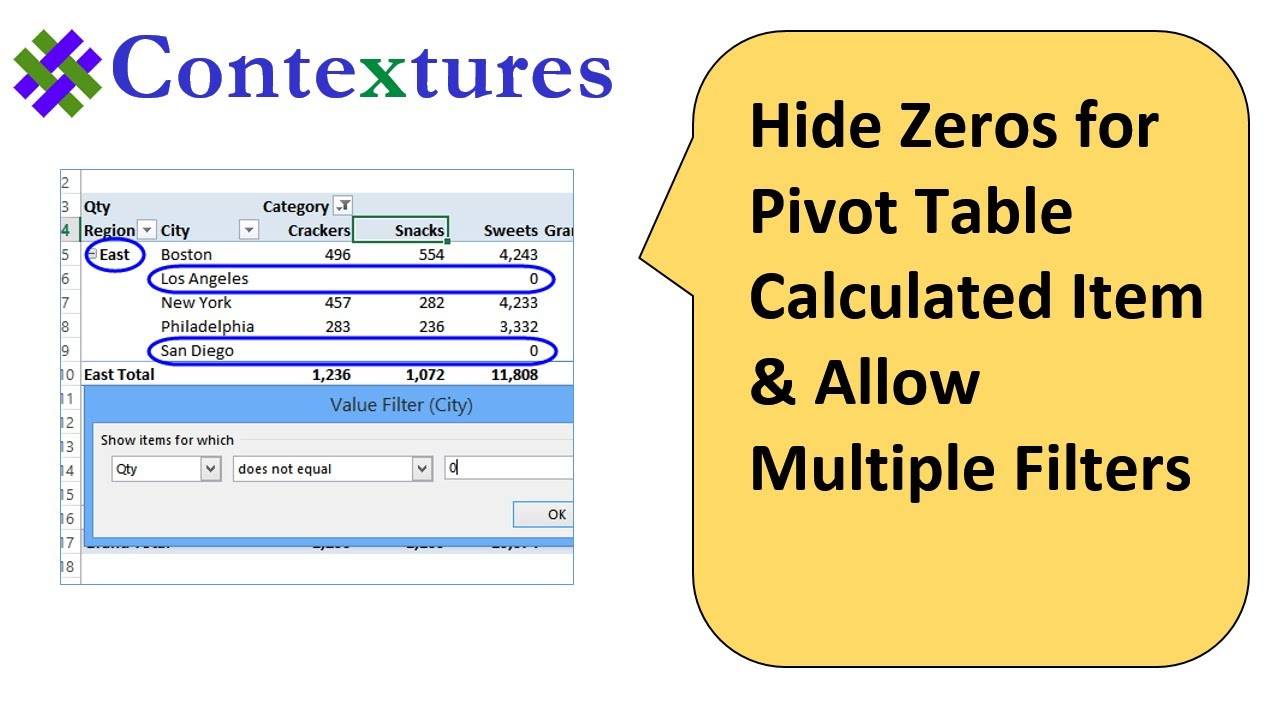 Hide zeros for pivot table calculated item youtube hide zeros for pivot table calculated item ccuart Image collections