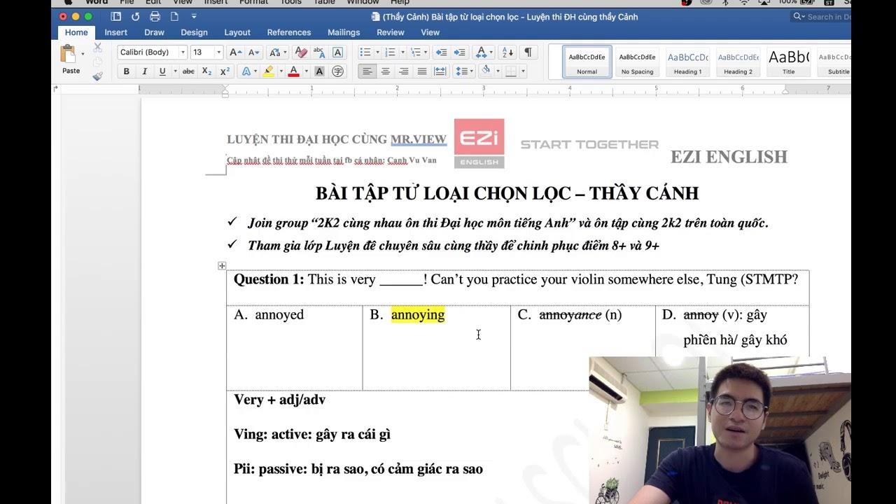 (11/04) Bài tập từ loại chọn lọc – Tiếng Anh THPT //thầy Cảnh//