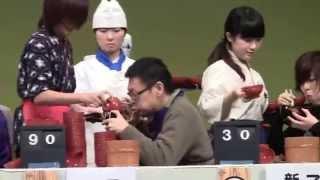 岩手県盛岡市で毎年行われている全日本わんこそば選手権 一般グループの...