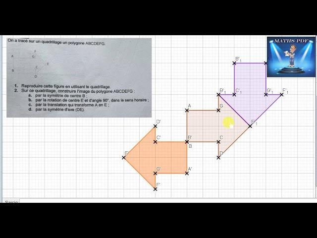 Symétrie, translation et rotation - Exercices maths corrigé.