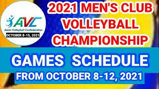 2021 AVC MEN'S VOLLEYBALL CHAMPIONSHIP GAME SCHEDULE FROM OCTOBER 8-12, 2021 | SPORTS WORLD