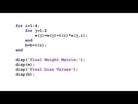 MATLAB Simulation of Hebbian Learning in Matlab m file