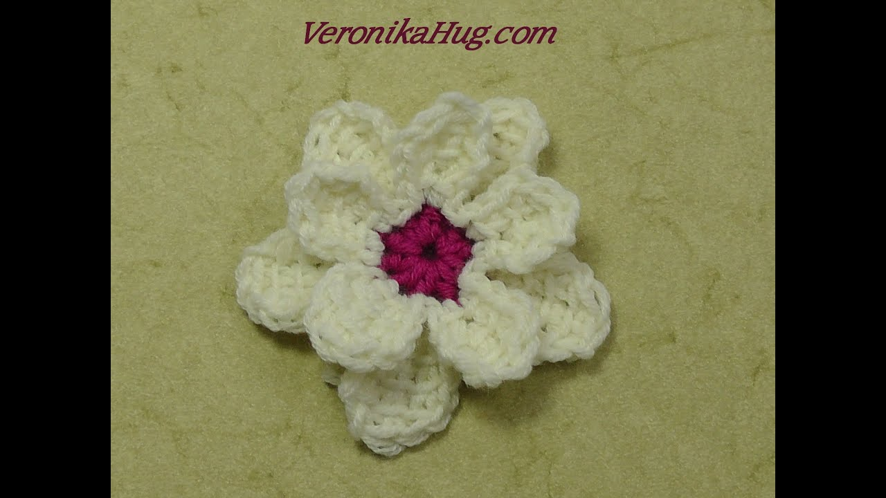 Tunesisch Häkeln - Blume doppelt - Häkelblume Veronika Hug - YouTube