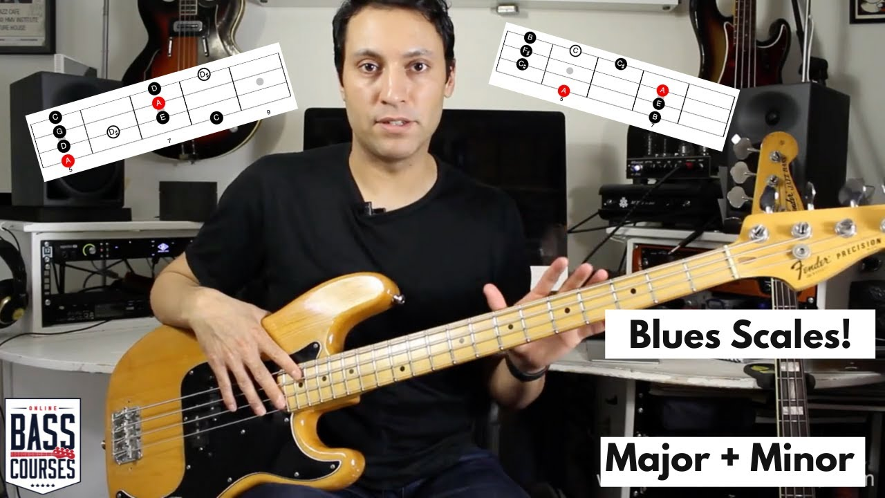 The Minor and Major Blues Scales on Bass Guitar - with