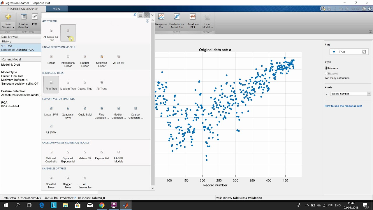Regression Learner App in Matlab (Machine Learning)