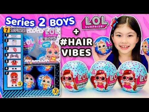 LOL SURPRISE #HAIRVIBES dolls and SERIES 2 LOL BOYS Unboxing! Gold Hairvibes Ball Found!