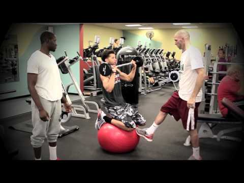 Michael Carter-Williams Performs Crazy Physioball Barbell Shoulder Press