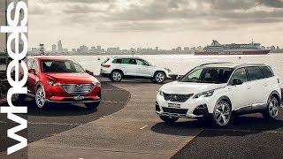 Mazda CX-9 v Skoda Kodiaq v Peugeot 5008 comparison review | Wheels Australia