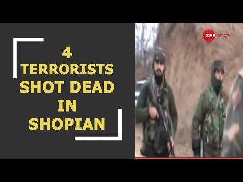 4 terrorists shot dead by security forces in J&K's Shopian