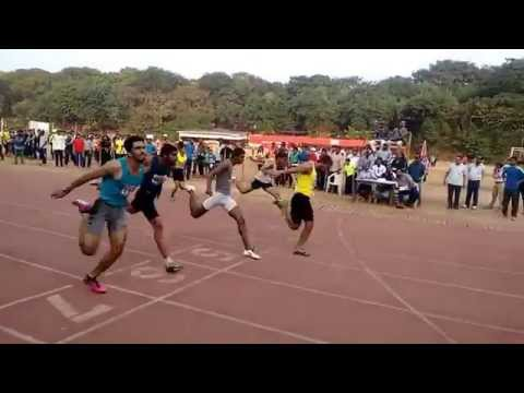Sandeep Kumar from Sprinters Sports Club at Mens 100meter run at YMCA State Level Championships 2015