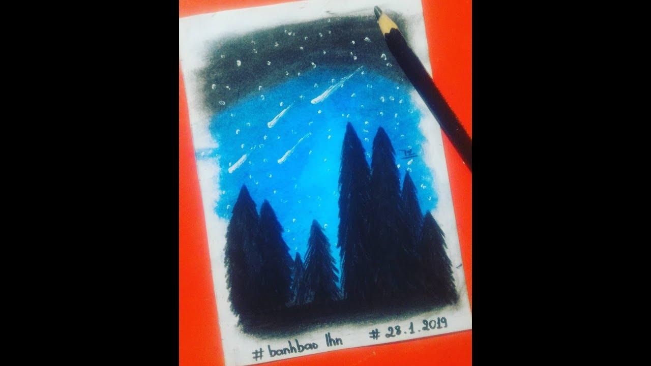 Hướng dẫn vẽ galaxy đơn giản với màu sáp dầu || L.H.N
