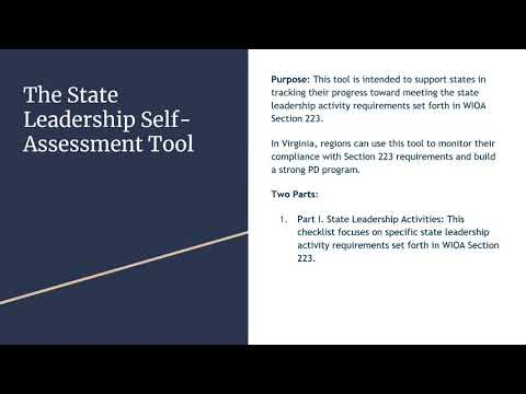State Leadership Self-Assessment and Asset Map Tools Overview - YouTube