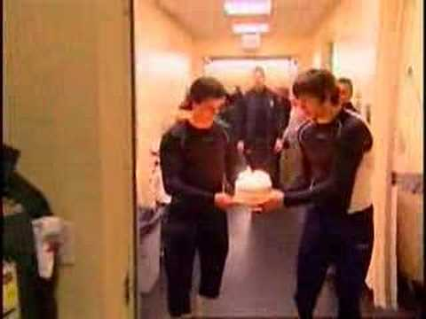 Sidney Crosby and Alex Ovechkin give Shanahan a Bday Cake