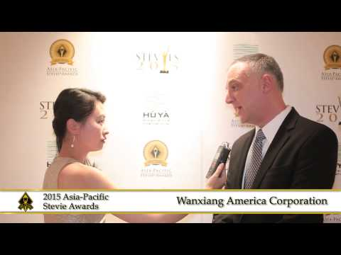 Wanxiang America Corporation share a few words at the 2015  Asia Pacific Stevie Awards.