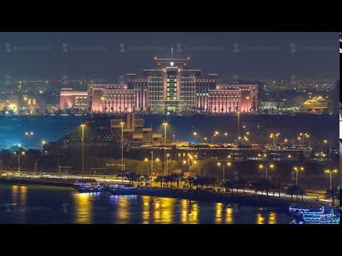 The Ministry of Interior in Doha and Post office night timelapse. Doha, Qatar, Middle East