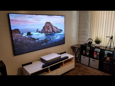 VAVA 4K Ultra Short Throw Laser Projector On XY Screens ALR PET Crystal Screen