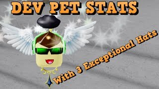 New Dev Pet with 3 Exceptional hats for Roblox game pew pew simulator