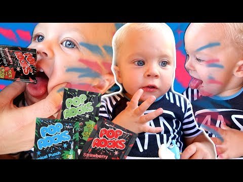 BABY REACTS TO POP ROCKS CANDY!