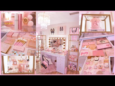 EXTRA GIRLY PINK VANITY TOUR AND MAKEUP COLLECTION 2020