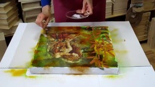 Mixed media / decoupage tutorial for beginners - DIY.  How to make Art Mixed Media painting.