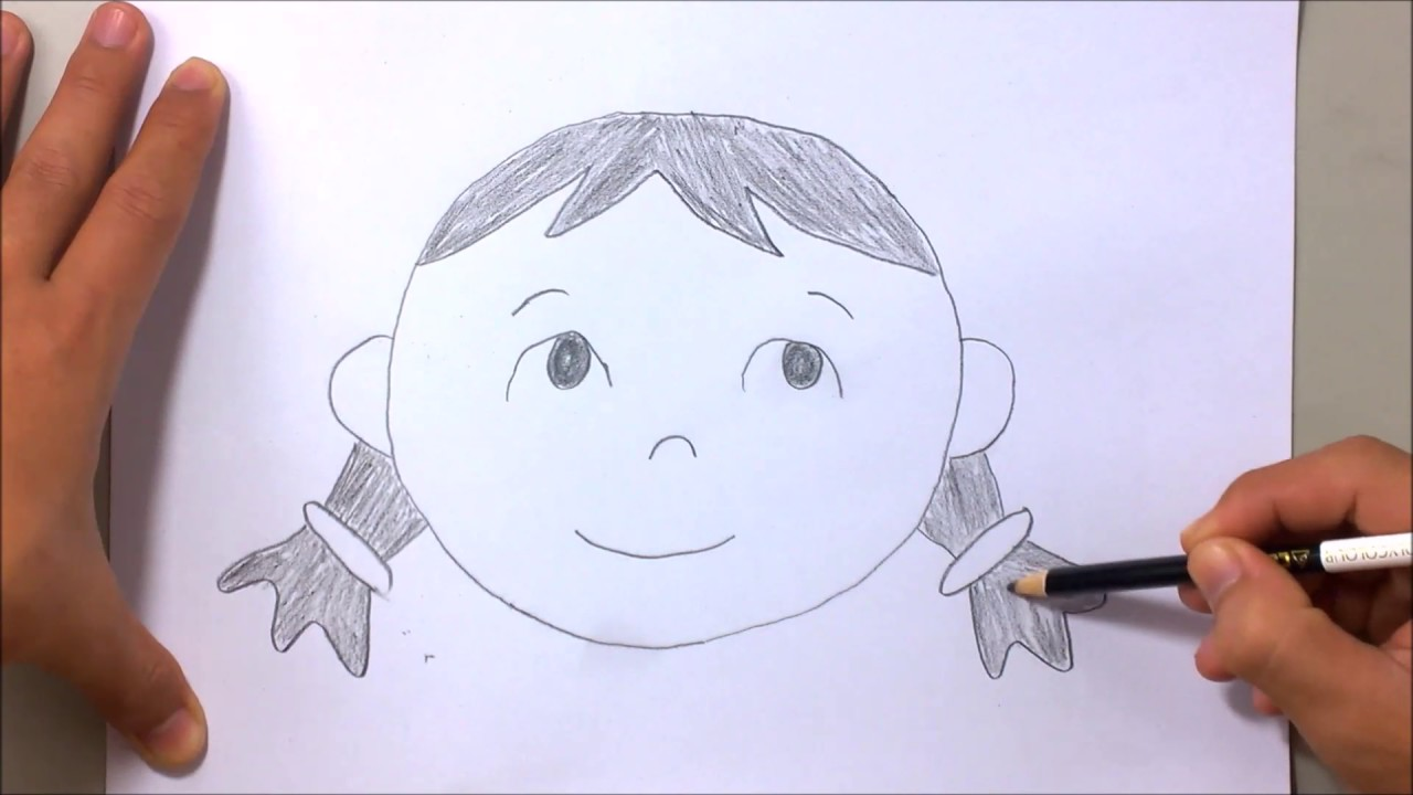 Line Drawing Cartoon Face : How to draw girl face easy for kid with number 0 the alphabet song