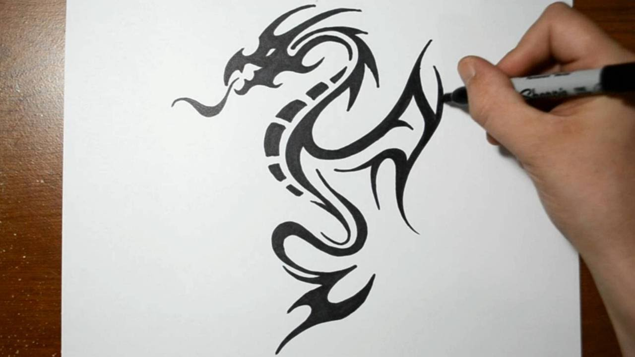 How To Draw A Tribal Dragon Tattoo Design Sketch 5 Youtube