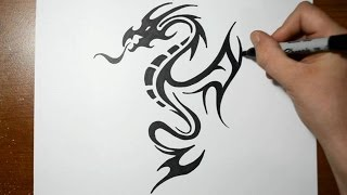 How to Draw a Tribal Dragon Tattoo Design - Sketch 5(How to draw a tribal dragon tattoo design, (sketch 5) The drawing part is in real time but the rendering part is sped up a bit. Thank you for watching and ..., 2015-03-30T23:22:16.000Z)