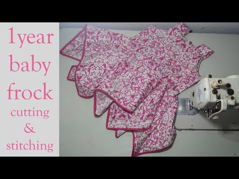 1year baby frock cutting and stitching full tutorial || diy stylish frock cutting and stitching